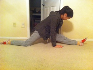 My very bad attempt at the left splits.